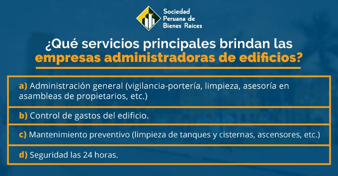 SERVICIOS DE UNA EMPRESA ADMINISTRADORA DE EDIFICIOS
